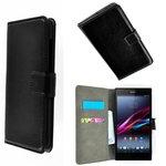 Sony,xperia,m2,aqua,book,style,wallet,case,zwart