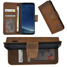 Samsung-Galaxy-S8-hoesje-Echt-Leder-Cover-Antiek-Bruin-Bookcase-Hoes-Pearlycase