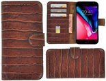 Apple-iPhone-8-hoesje-Cover-Wallet-Bookcase-Pearlycase-Echt-Leder-hoes-Croco-Bruin