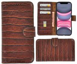 Apple-iPhone-X-Xs-hoesje-Cover-Wallet-Bookcase-Pearlycase-Echt-Leder-hoes-Croco-Bruin