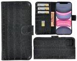 Apple-iPhone-X-Xs-hoesje-Cover-Wallet-Bookcase-Pearlycase-Echt-Leder-hoes-Croco-Zwart