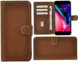 Apple-iPhone-6-6s-hoes-Echt-Leer-Wallet-Bookcase-hoesje-cover-Antiek-Cognac-Bruin-Pearlycase