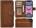 Apple-iPhone-X-Xs-hoes-Echt-Leer-Wallet-Bookcase-hoesje-cover-Antiek-Cognac-Bruin-Pearlycase