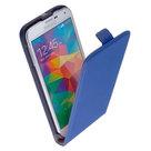 Samsung-Galaxy-S5---Leder--Flip-case-cover-hoesje-Blauw
