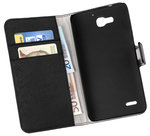 Huawei-Ascend-G750-Honor-3X-Wallet-Book-Case-cover-Y-Zwart
