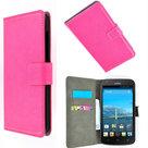 Huawei Y330 book style wallet case roze