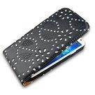 Samsung-i9500-Galaxy-S4-Glitter-bloem-Flip-case-hoesje-Zwart