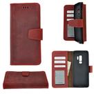 Pearlycase-Echt-Leder-Antiek-bordeaux-rood-Bookcase-Hoesje-voor-Samsung-Galaxy-S9
