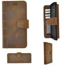 Pearlycase-Echt-Leer-Library-Bookcase-Antiek-Bruin-voor-Samsung-Galaxy-S9-Plus