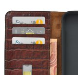 iPhone 11 Wallet Bookcase hoes Pearlycase Echt Leder hoesje Croco Bruin_9