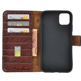 iPhone 11 Pro Wallet Bookcase hoes Pearlycase Echt Leder hoesje Croco Bruin_9