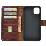 iPhone 11 Pro Max Wallet Bookcase hoes Pearlycase Echt Leder hoesje Croco Bruin_9