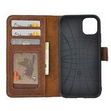 Apple iPhone 11 hoes Echt Leer Wallet Bookcase hoesje cover Antiek Cognac Bruin_9