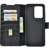Samsung Galaxy S20 Ultra hoesje Cover Wallet Bookcase Pearlycase Echt Leder hoes Croco Zwart_9