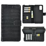 Samsung Galaxy S20 Plus hoesje Cover Wallet Bookcase Pearlycase Echt Leder hoes Croco Zwart_9