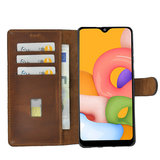 Samsung Galaxy A10s hoes Echt Leer Wallet Bookcase hoesje cover Cognac Bruin Pearlycase _9