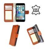 Wallet-Bookcase-Echt-Leder-Lichtbruin-hoesje-voor-iPhone-6(S)