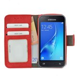 Wallet Bookcase Hoesje voor Samsung Galaxy J1 Mini (Prime) - Fashion Rood