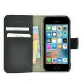 Pearlycase®-Echt-Lederen-Wallet-Bookcase-iPhone-5(S)/SE-Effen-Zwart-Hoesje