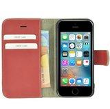 Pearlycase®-Echt-Lederen-Wallet-Bookcase-iPhone-5(S)/SE-Oxyderood-Hoesje