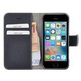 Pearlycase®-Echt-Lederen-Wallet-Bookcase-iPhone-5(S)/SE-Donkerblauw-Hoesje