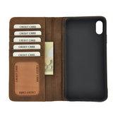 Pearlycase Echt Leer Book Bookcase Apple iPhone XS Max- Antiek Bruin Hoesje_9