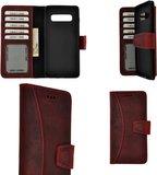 Pearlycase Echt Leer Moon Bookcase Samsung Galaxy S10 Plus - Antiek Bordeaux Rood Hoesje_9