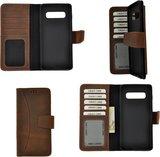 Pearlycase Echt Leer Moon Bookcase Samsung Galaxy S10 Plus - Antiek Bruin Hoesje_9