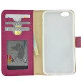 Pearlycase Echt leder Wallet Bookcase Hoesje Geribbeld Donker Roze voor Apple iPhone 6 / iPhone 6S_9