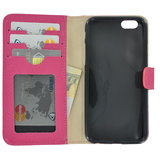 Pearlycase Echt leder Wallet Bookcase Hoesje Geribbeld Roze voor Apple iPhone 6 / iPhone 6S_9