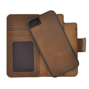 Pearlycase Antiek Bruin Echt lederen 2in1 back en book case ID type hoesje met magnetisch uitneembaar leren behuizing en sluiting voor Apple iPhone 6/6S