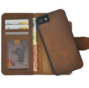 Pearlycase Antiek Bruin Echt lederen 2in1 back en book case ID type hoesje met magnetisch uitneembaar leren behuizing en sluiting voor Apple iPhone 7/8