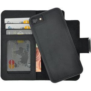Pearlycase Antiek Zwart Echt lederen 2in1 back en book case ID type hoesje met magnetisch uitneembaar leren behuizing en sluiting voor Apple iPhone 7/8