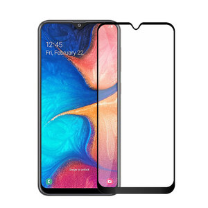 Pearlycase Tempered Glass / Glazen Screenprotector Full Cover Zwart voor Samsung Galaxy A20 Gehard Glas