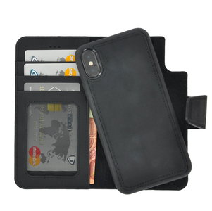 Pearlycase Antiek Zwart Echt lederen 2in1 back en book case ID type hoesje met magnetisch uitneembaar leren behuizing en sluiting voor Apple iPhone Xs Max
