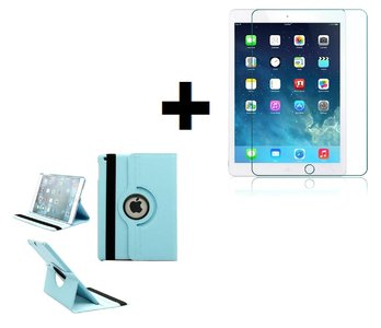 iPad Air 2019 (10,5) hoes Pearlycase.. Kunstleder Hoesje 360° Draaibare Book Case Bescherm Cover Hoes Turquoise + Screenprotector Tempered Glass