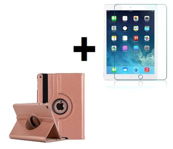 iPad Air 2019 (10,5) hoes Pearlycase.. Kunstleder Hoesje 360° Draaibare Book Case Bescherm Cover Hoes Rose Goud + Screenprotector Tempered Glass
