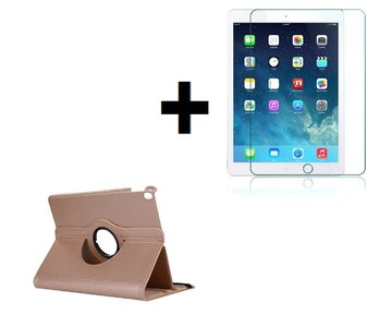 iPad Air 2019 (10,5) hoes Pearlycase.. Kunstleder Hoesje 360° Draaibare Book Case Bescherm Cover Hoes Goud + Screenprotector Tempered Glass