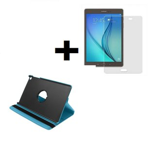Samsung Galaxy Tab A 10.1 2019 (T510-T515) Hoes Pearlycase.. 360° Draaibare Book Case Bescherm Cover Hoes Turquoise + Screenprotector Tempered Glass