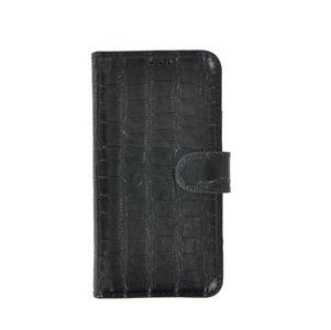 iPhone 11 Wallet Bookcase hoes Pearlycase Echt Leder hoesje Croco Zwart