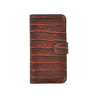 iPhone 11 Pro Max Wallet Bookcase hoes Pearlycase Echt Leder hoesje Croco Bruin