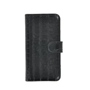 iPhone 11 Pro Max Wallet Bookcase hoes Pearlycase Echt Leder hoesje Croco Zwart
