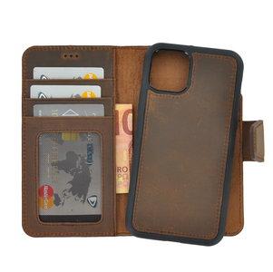 iPhone 11 hoes Pearlycase Antiek Bruin echt leer hoesje 2in1 back en book case ID type cover met magnetisch uitneembaar lederen behuizing en sluiting