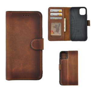 Apple iPhone 11 hoes Echt Leer Wallet Bookcase hoesje cover Antiek Cognac Bruin