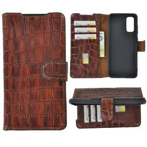 Samsung Galaxy S20 hoesje Cover Wallet Bookcase Pearlycase Echt Leder hoes Croco Bruin