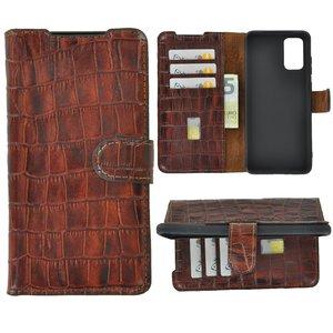 Samsung Galaxy S20 Plus hoesje Cover Wallet Bookcase Pearlycase Echt Leder hoes Croco Bruin