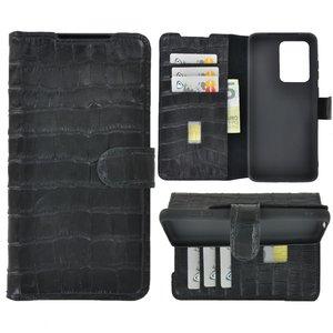 Samsung Galaxy S20 Ultra hoesje Cover Wallet Bookcase Pearlycase Echt Leder hoes Croco Zwart