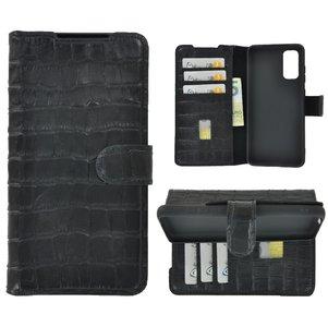 Samsung Galaxy S20 hoesje Cover Wallet Bookcase Pearlycase Echt Leder hoes Croco Zwart