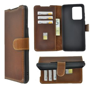 Samsung Galaxy S20 Ultra hoesje Echt Leer Wallet Bookcase hoes cover Antiek Cognac Bruin Pearlycase