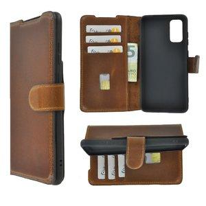 Samsung Galaxy S20 hoesje Echt Leer Wallet Bookcase hoes cover Antiek Cognac Bruin Pearlycase